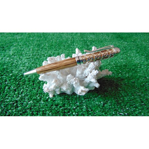 Filigree pen in Zebra wood in a chrome plated finish