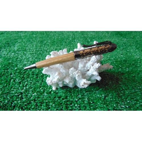 Filigree pen in Zebra wood in a Gun metal plated finish
