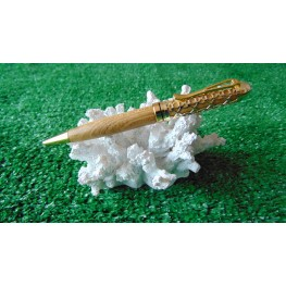 Filigree pen in Welsh Laburnum wood in a Gold plated finish