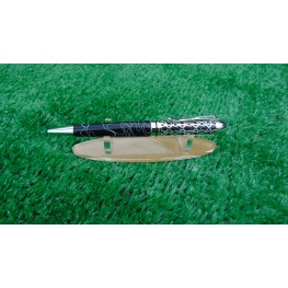 Handmade Filigree style ballpoint pen in a Black and White swirl acrylic