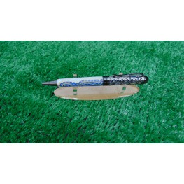 handmade Filigree style ballpoint pen in a Blue and White  acrylic