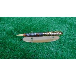 Handmade Filigree style ballpoint pen in a Midnight racer acrylic
