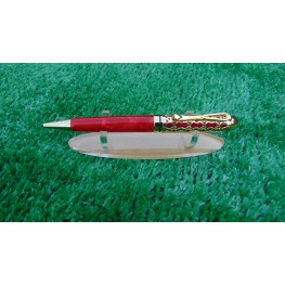 Handmade Filigree style ballpoint pen in a Crushed Red acrylic